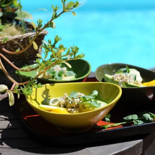 Salade d'avocat, mangue et crabe à la coriandre
