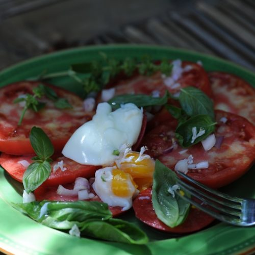 salade tomate oeuf mollet