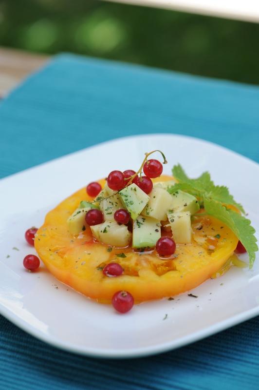 recette de steak de tomate ananas, tartare avocat et mangue