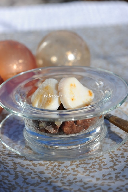 recette de compote de châtaignes au lard et noix de Saint-Jacques