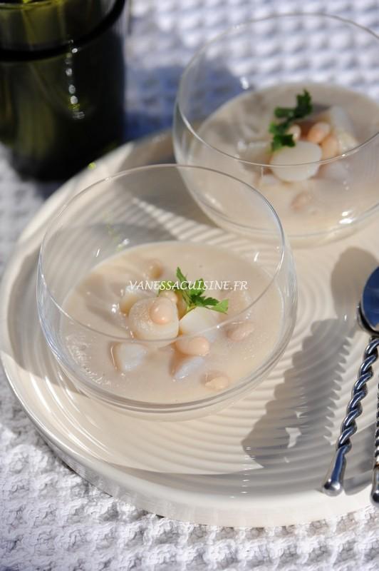 Crème de coco, pétoncles poêlées
