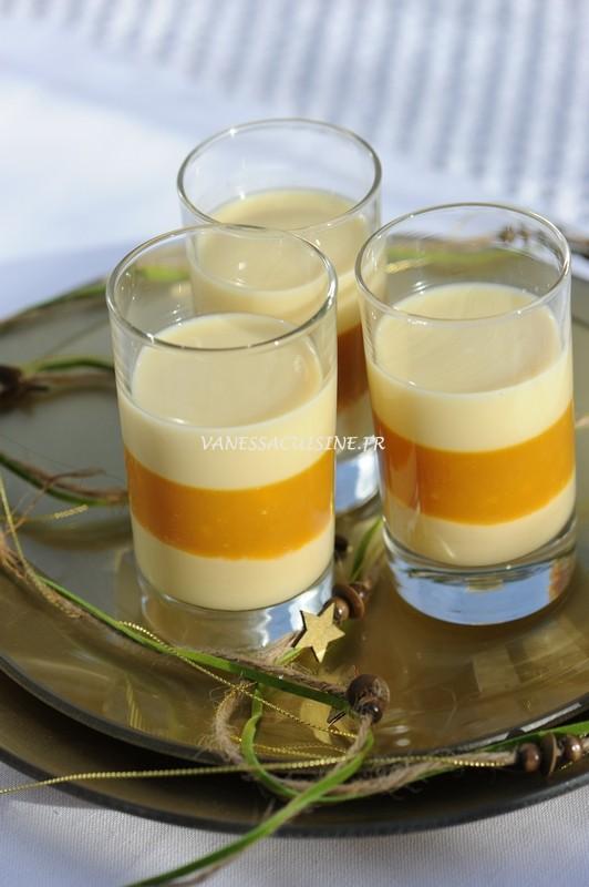 Verrine passion, crémeux et gelée, pannacotta vanillée