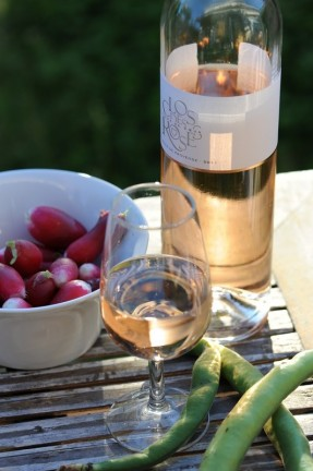 verre de vin rosé du Clos des roses
