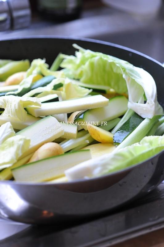 photo d'un sauté de chou de Pâques et légumes de saison