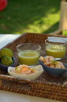 recette de crème de courgette au curry et crevettes