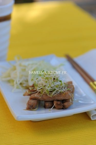 recette de porc sauté, salade de chou