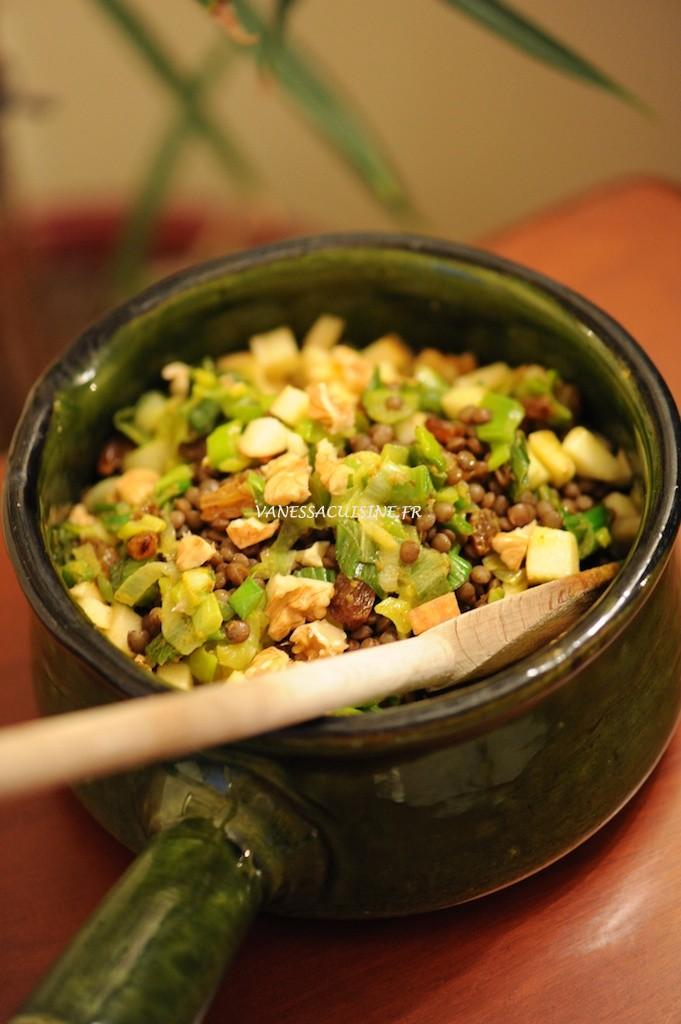 Salade de lentille vertes de la Bréole, au curry et aux pommes