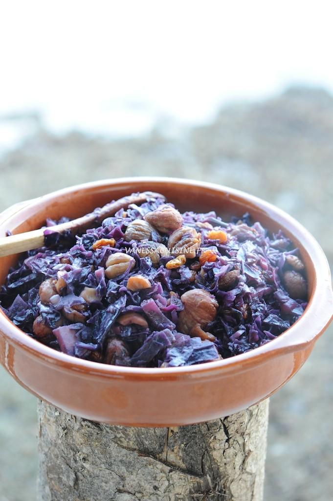 recette de compote de chou rouge, châtaignes et raisins secs