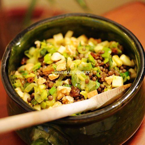 recette de salade de lentilles au curry et pommes