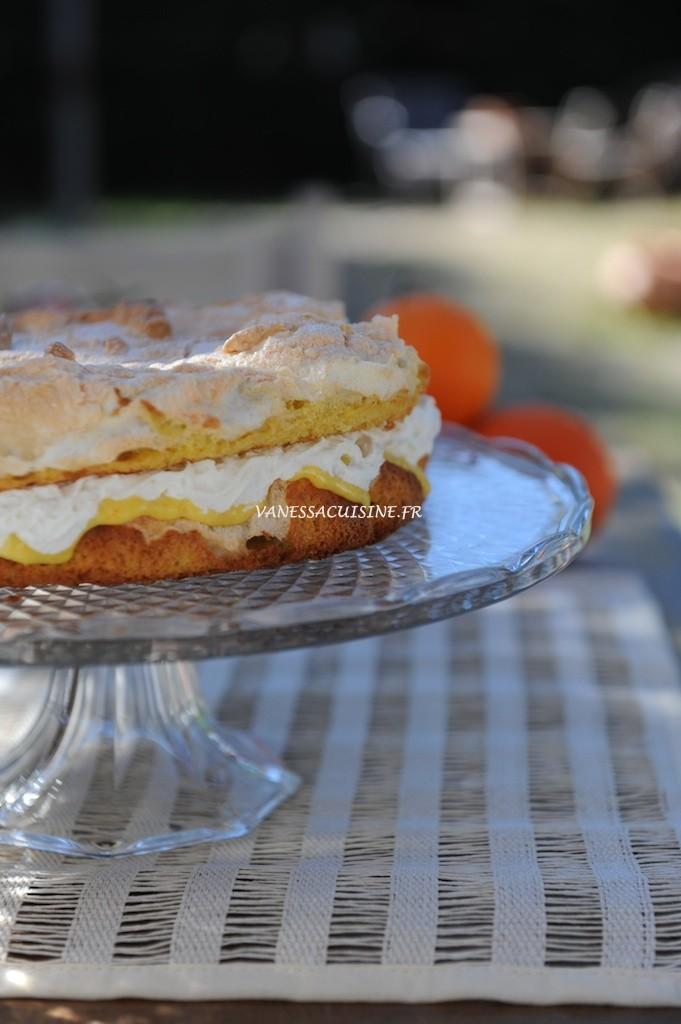 recette de gâteau meringué à l'orange et à la mangue