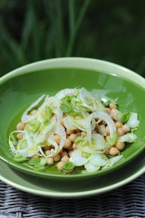 recette de salade de pois chiches, fenouil et aillet