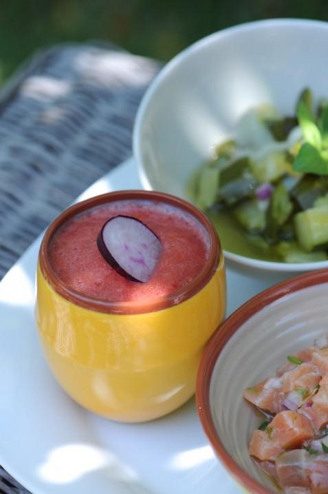 Tartare de saumon légèrement thaïe aux herbes