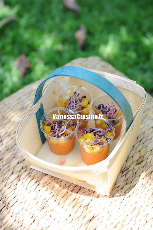 recette de verrine de gaspacho et tartare de poivron