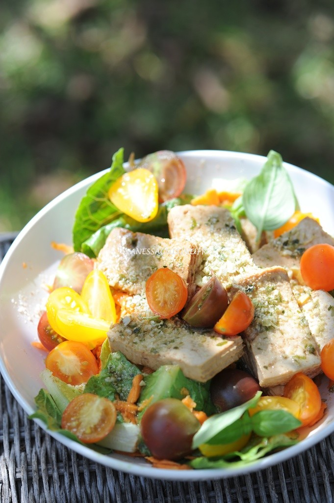 La salade au tofu mariné, vinaigrette au millet brun