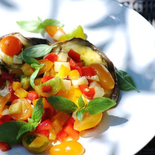recette de steak d'aubergine, sauce vierge aux tomates
