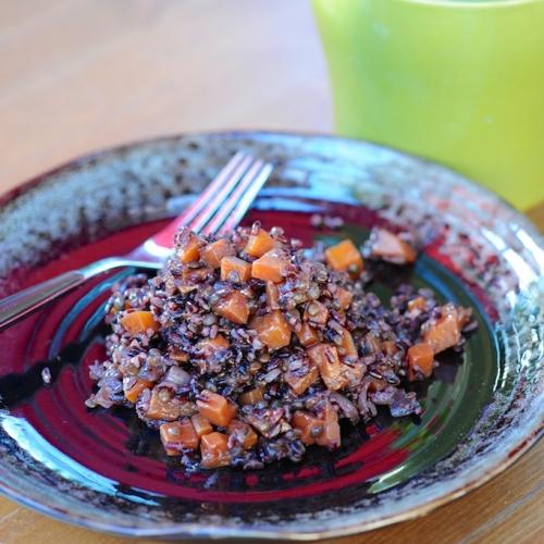 Recette de risotto de riz venere aux lentilles noires et courge butternut