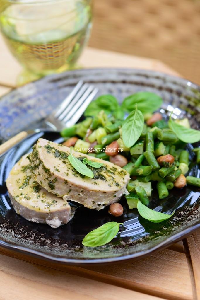 Vapeur de légumes du pistou, thon moelleux