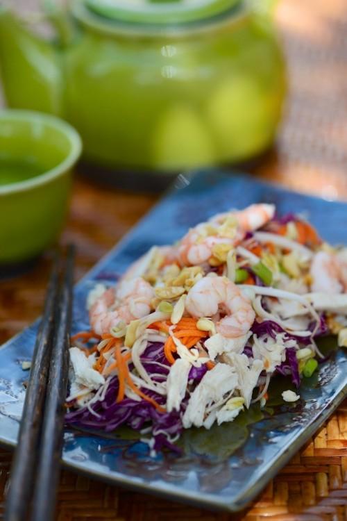recette de salade vietnamienne de poulet crevettes