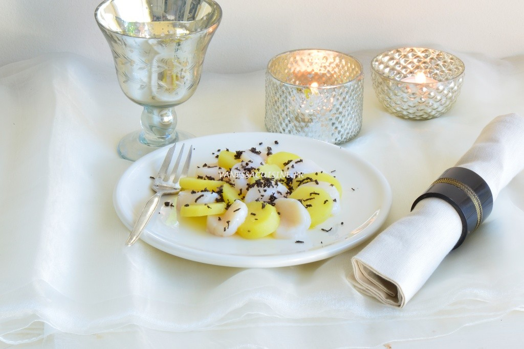 recette de Carpaccio de Saint Jacques et grenailles à la truffe