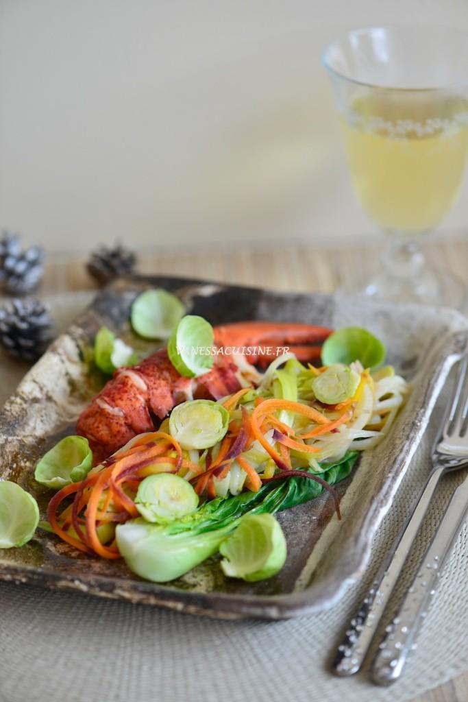 recette de homard vapeur, légumes d'hiver sauce tandoori