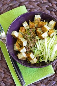 recette de salade de lentilles tofu et chou blanc