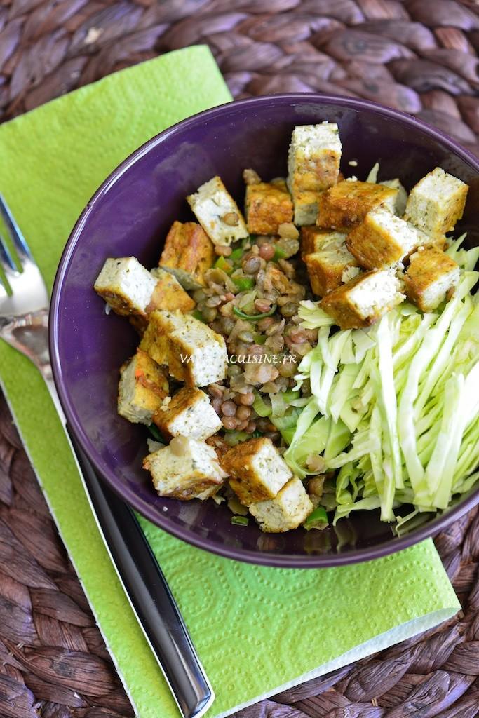 Salade de lentilles trois couleurs, tofu et chou blanc