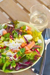 recette de salade folle de lotte au curry et fruits exotiques