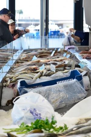Stand de poissons au marché des pêcheurs de Saint Raphaël