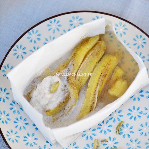 recette de Papillote de banane à la cardamome, crème coco vanille