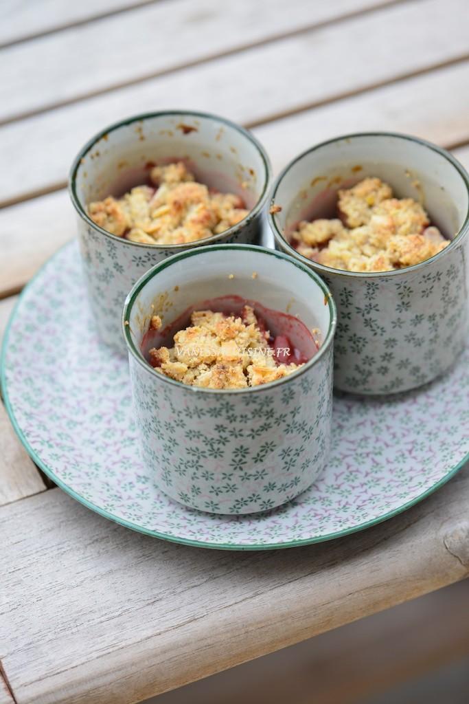 Crumble fraise et rhubarbe (sans gluten, ni caséine de lait) - Vanessa Romano photographe et styliste culinaire