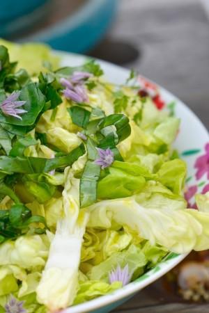 Galettes de risotto, salade d'herbes fraîches