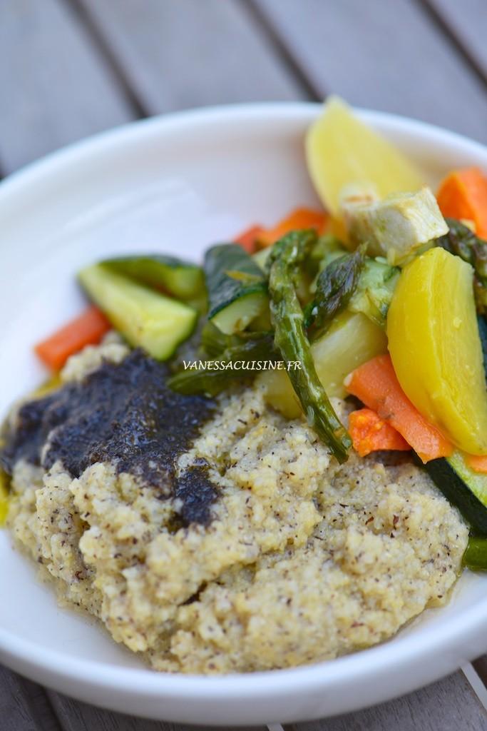 Polenta à la truffe et légumes rôtis au four