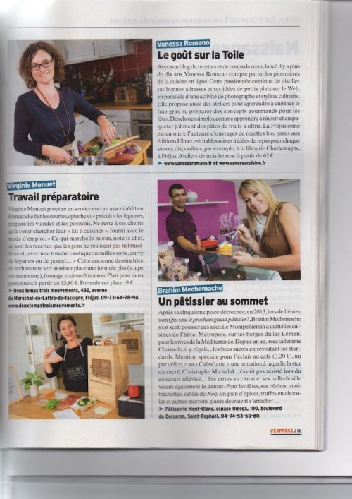 Article l'Express novembre 2015 - Vanessa Romano photographe et styliste culinaire 1