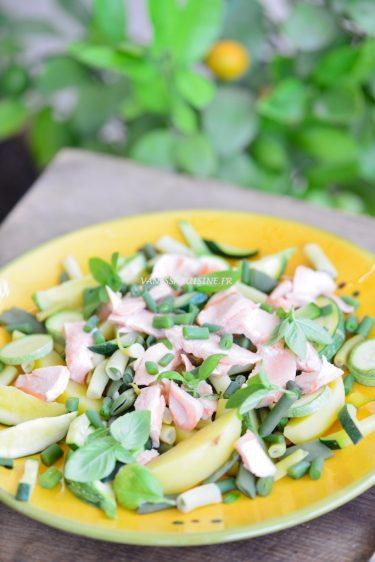 recette de salade aux légumes et saumon bio