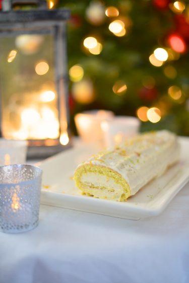 recette de bûche de noël sans gluten au chocolat blanc bergamote et orange