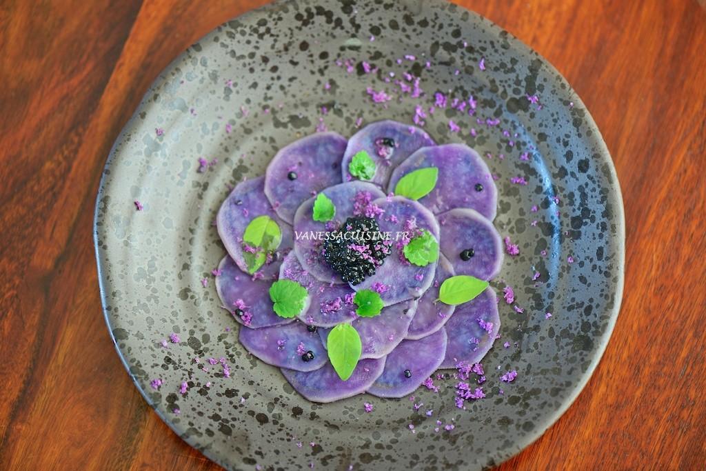 recette de Carpaccio de Vitelotte au caviar