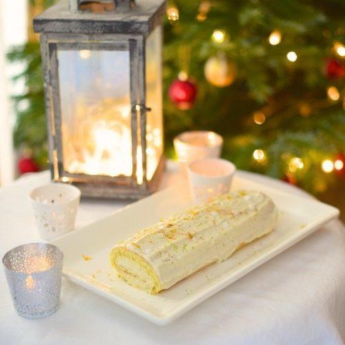 recette de bûche de Noël au chocolat blanc, bergamote et orange