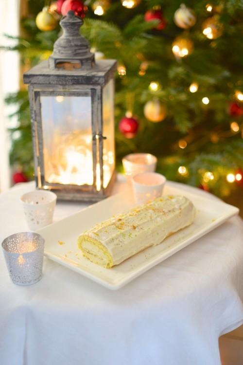 Bûche de Noël au chocolat blanc, bergamote et orange