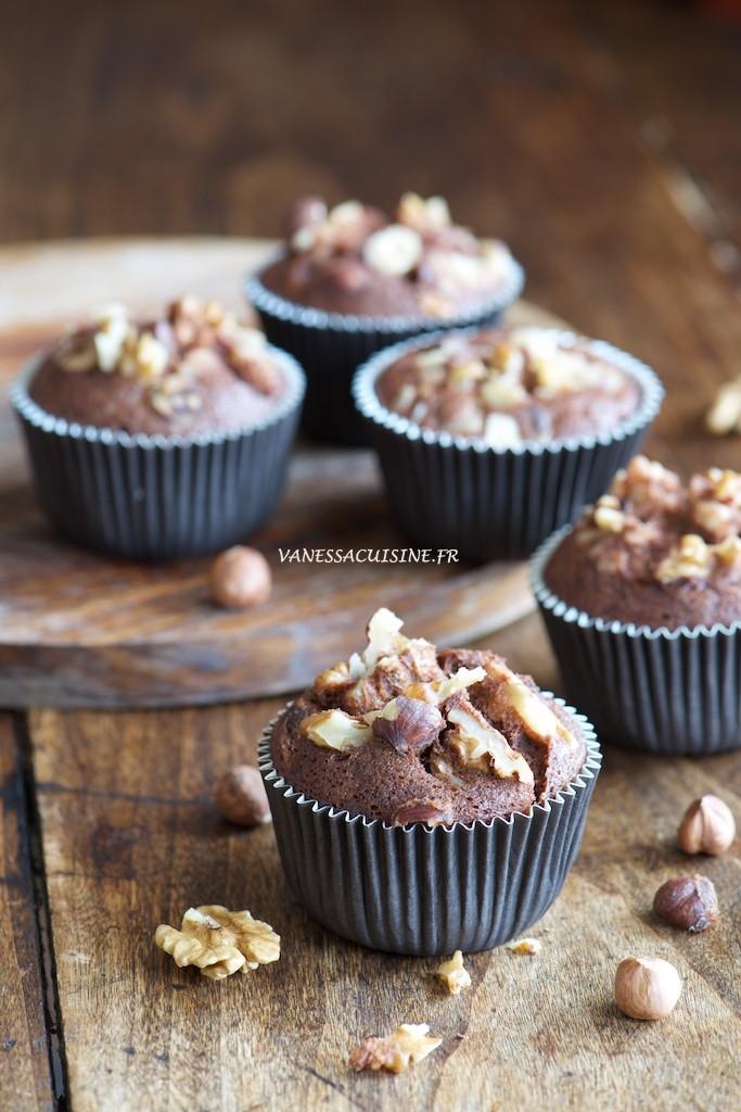 Petits cakes au chocolat et aux fruits secs