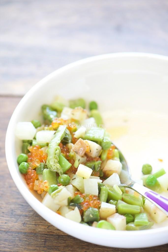 recette de légumes tièdes de printemps et oeufs de truite