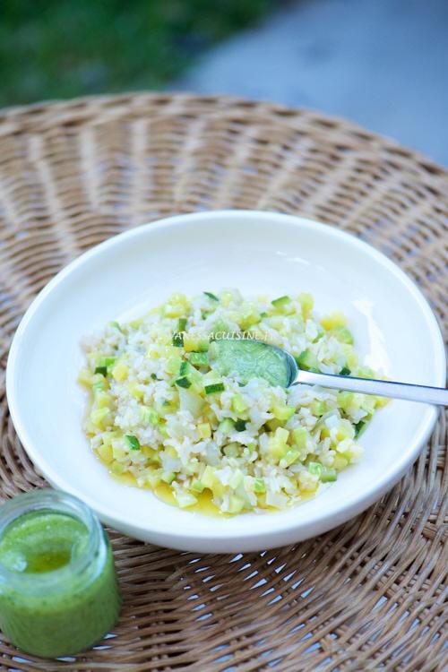 recette de salade de riz tiède, courgettes et pesto de Porto Venere