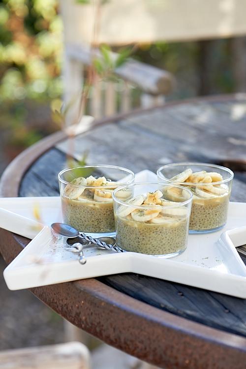 recette de pudding aux graines de chia thé matcha et bananes