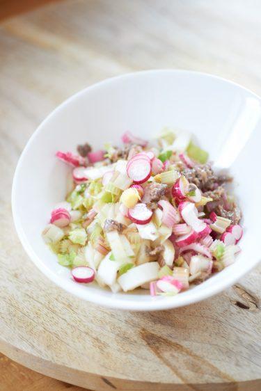 recette de salade de céleri radis et endives aux anchois