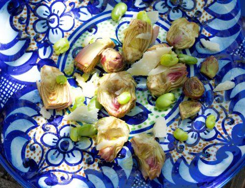 Artichauts poivrade, févettes et parmesan