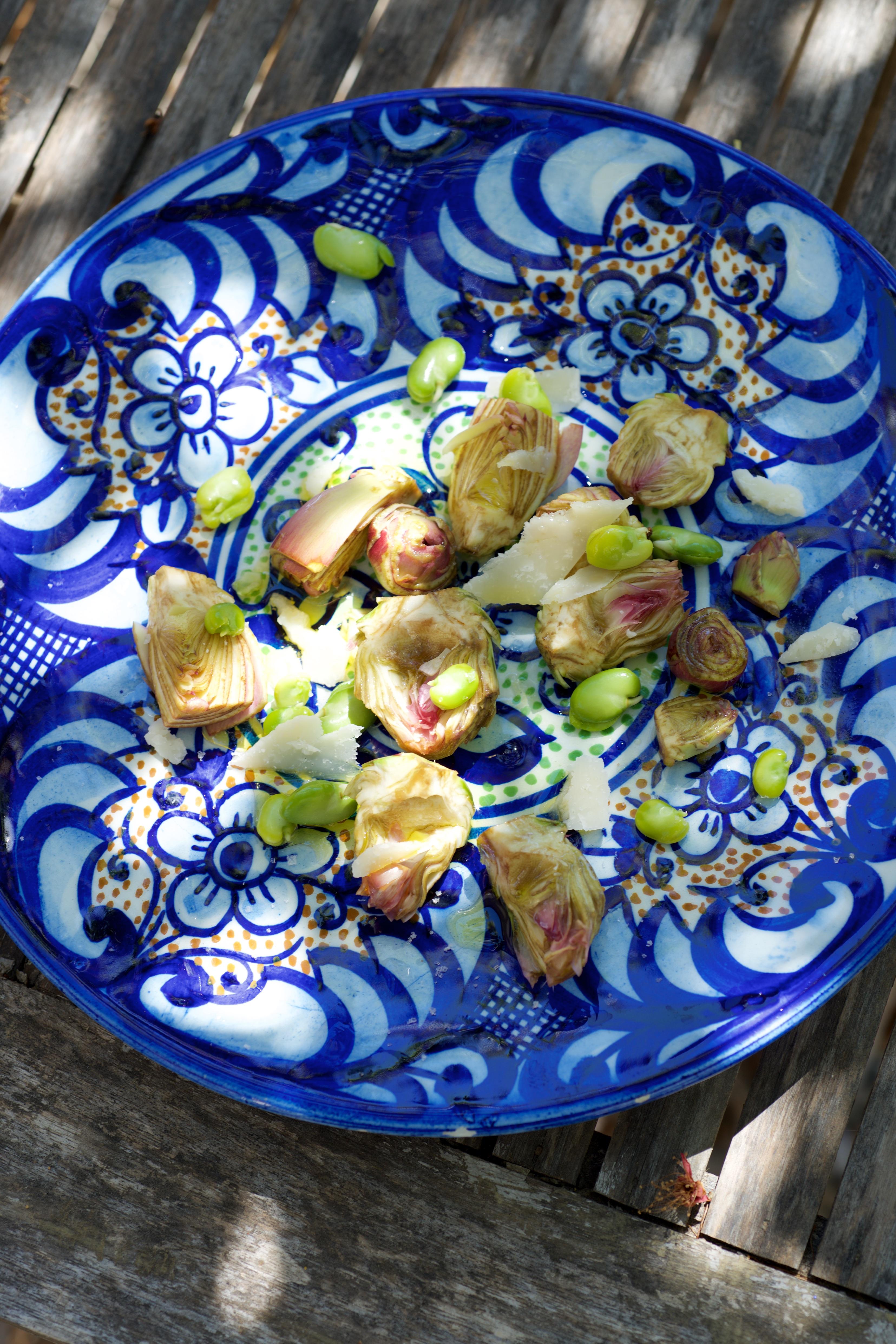 assiette artichauts poivrade févettes et parmesan assiette chinée