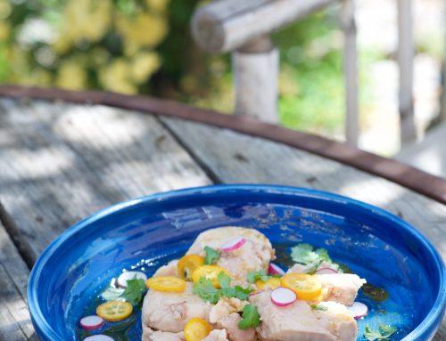 Foie de morue, vinaigrette acidulée et kumquats
