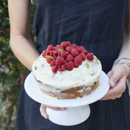Layer cake au chocolat blanc et framboises