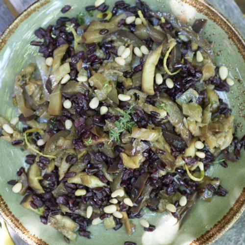 Trifolato d'aubergine, riz Venere