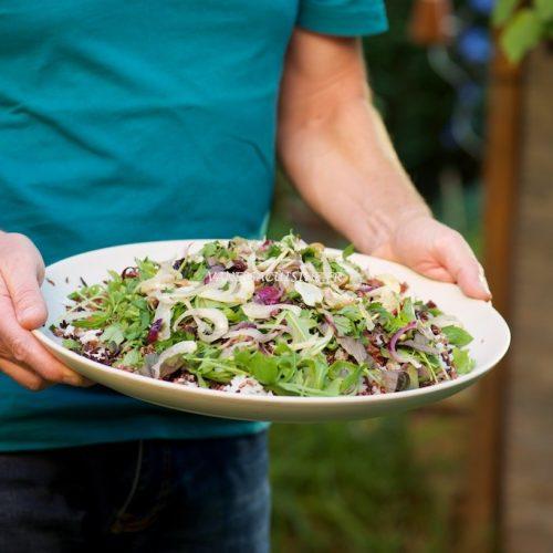 recette de salade aux trois riz, quinoa rouge et herbes du jardin