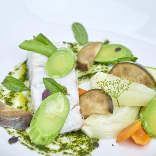 Cabillaud, légumes de fin d'été et pistou